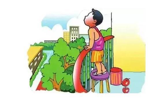 小孩攀爬阳台护栏图片